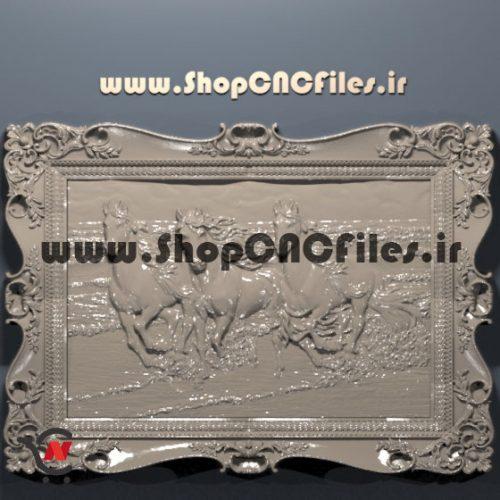 طرح تابلو سه بعدی اسب برای سی ان سی چوب و سنگ