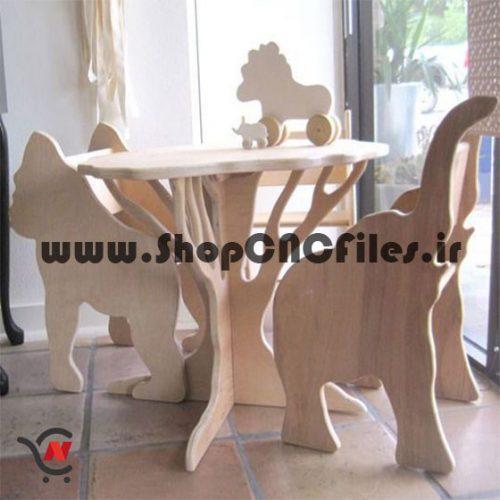 طرح دوبعدی برش میز و صندلی مهدکودک برای سی ان سی