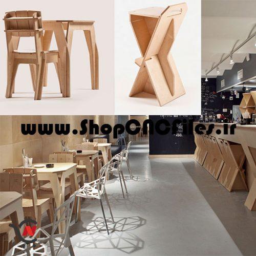 طرح دوبعدی برش میز و صندلی و صندلی بار سی ان سی چوب ام دی اف