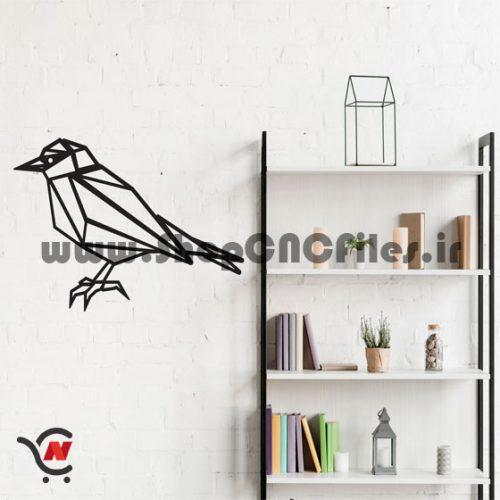 وکتور دوبعدی سی ان سی و برش لیزر دکوراتیو طرح پرنده هندسی